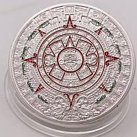 Посеребренная сувенирная монета Ацтеков ''Камень Солнца''