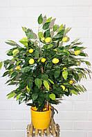 Лимонное дерево 60 см пышное искусственное в горшке