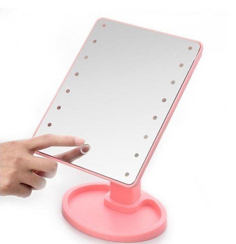 Дзеркало для макіяжу з підсвічуванням Large Led Mirror pink, 16 led