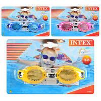 Очки для плавания 55601  3 цвета,  3-8 лет,  регулируемый ремешок,  на листе,  19, 5-12, 5см