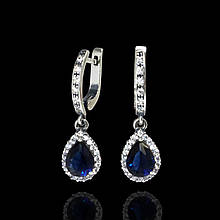 Серебряные серьги подвески с синим камнем Selenit 22069/1