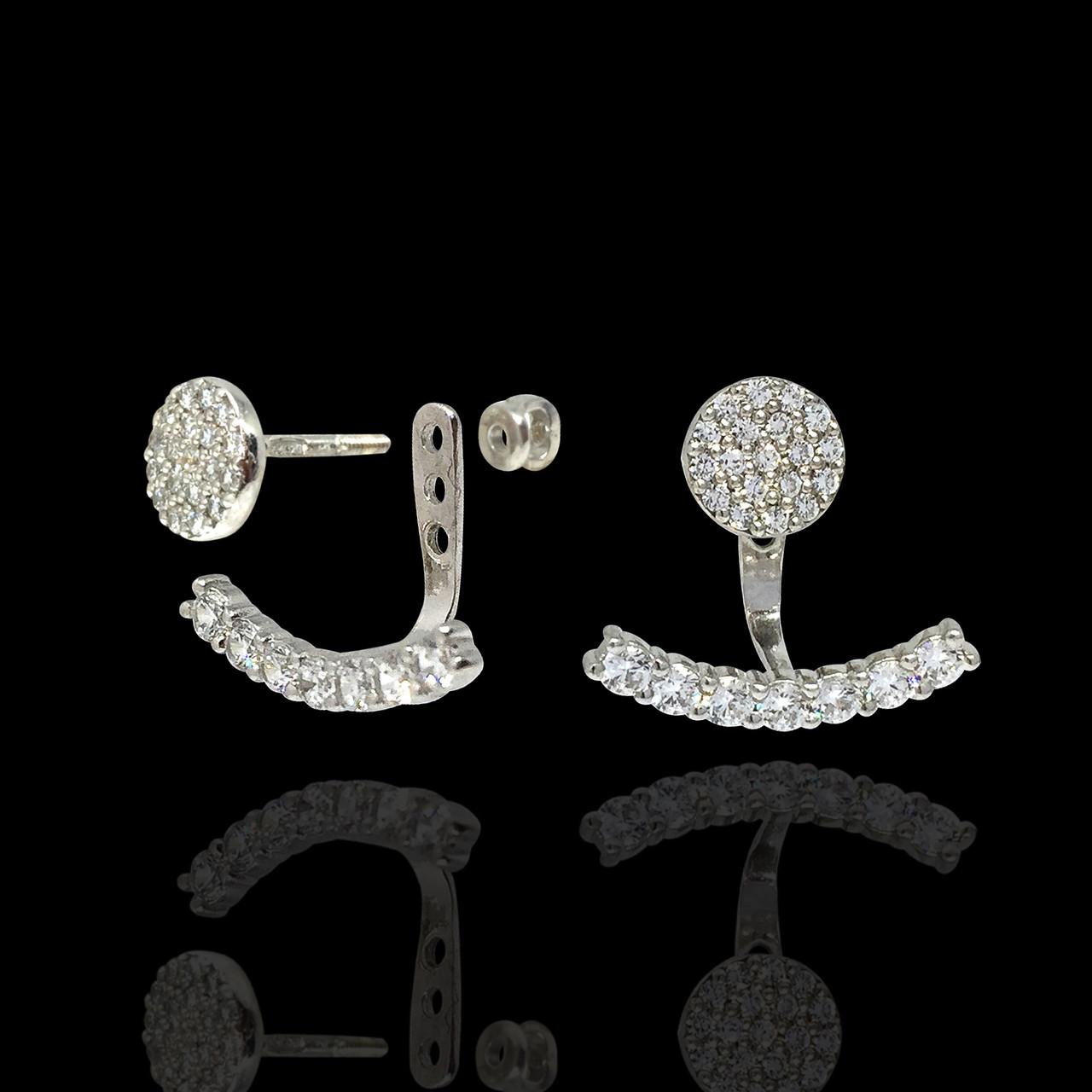 Серебряные серьги джекеты с фианитами Selenit 24078