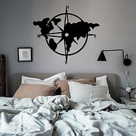Дерев'яне панно, об'ємна картина з фанери «Compass Map» - Карта компаса / Настінний декор / Декор стін