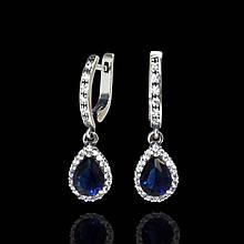 Серебряные серьги подвески с синим камнем