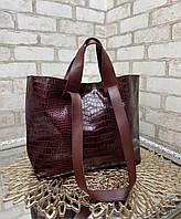 Женская сумка брендовая большая вместительная шоппер стильная бордовая экокожа рептилия, фото 1