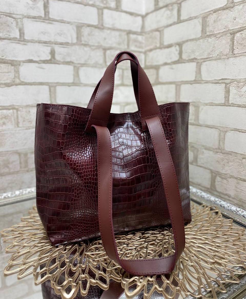 Женская сумка брендовая большая вместительная шоппер стильная бордовая экокожа рептилия