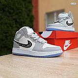 Мужские кроссовки в стиле Jordan 1 Retro High Dior белые с серым, фото 2