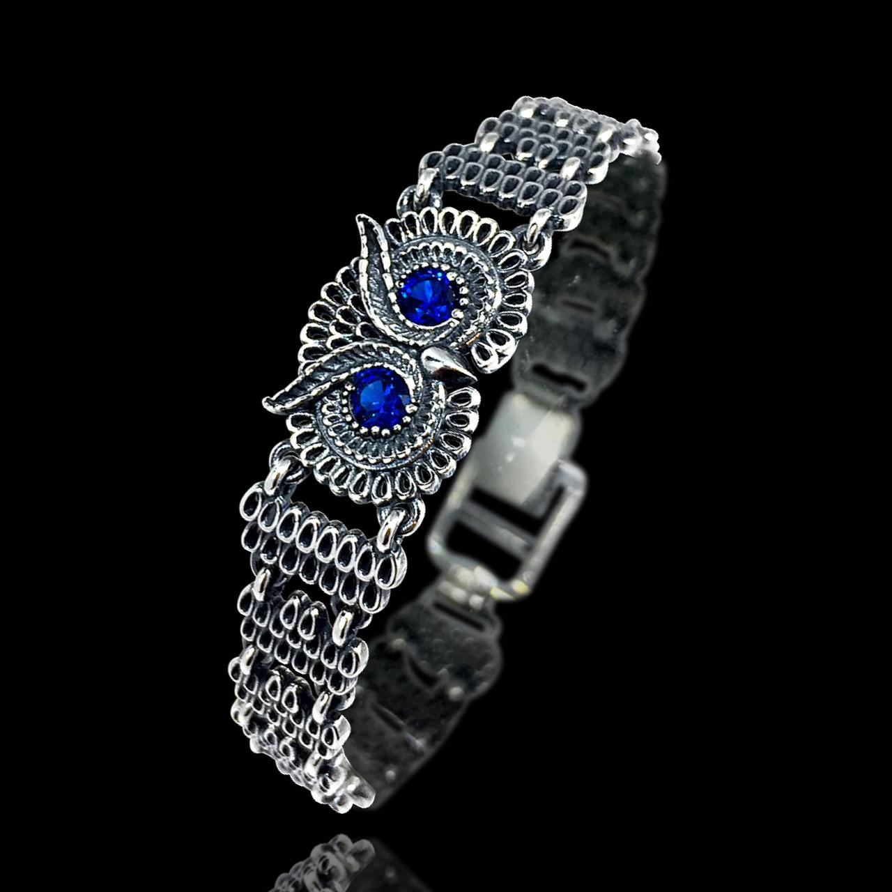 Серебряный женский браслет с совой 17,5 см