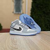 Мужские кроссовки в стиле Jordan 1 Retro High Dior белые с серым, фото 8