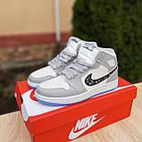 Мужские кроссовки в стиле Jordan 1 Retro High Dior белые с серым, фото 10