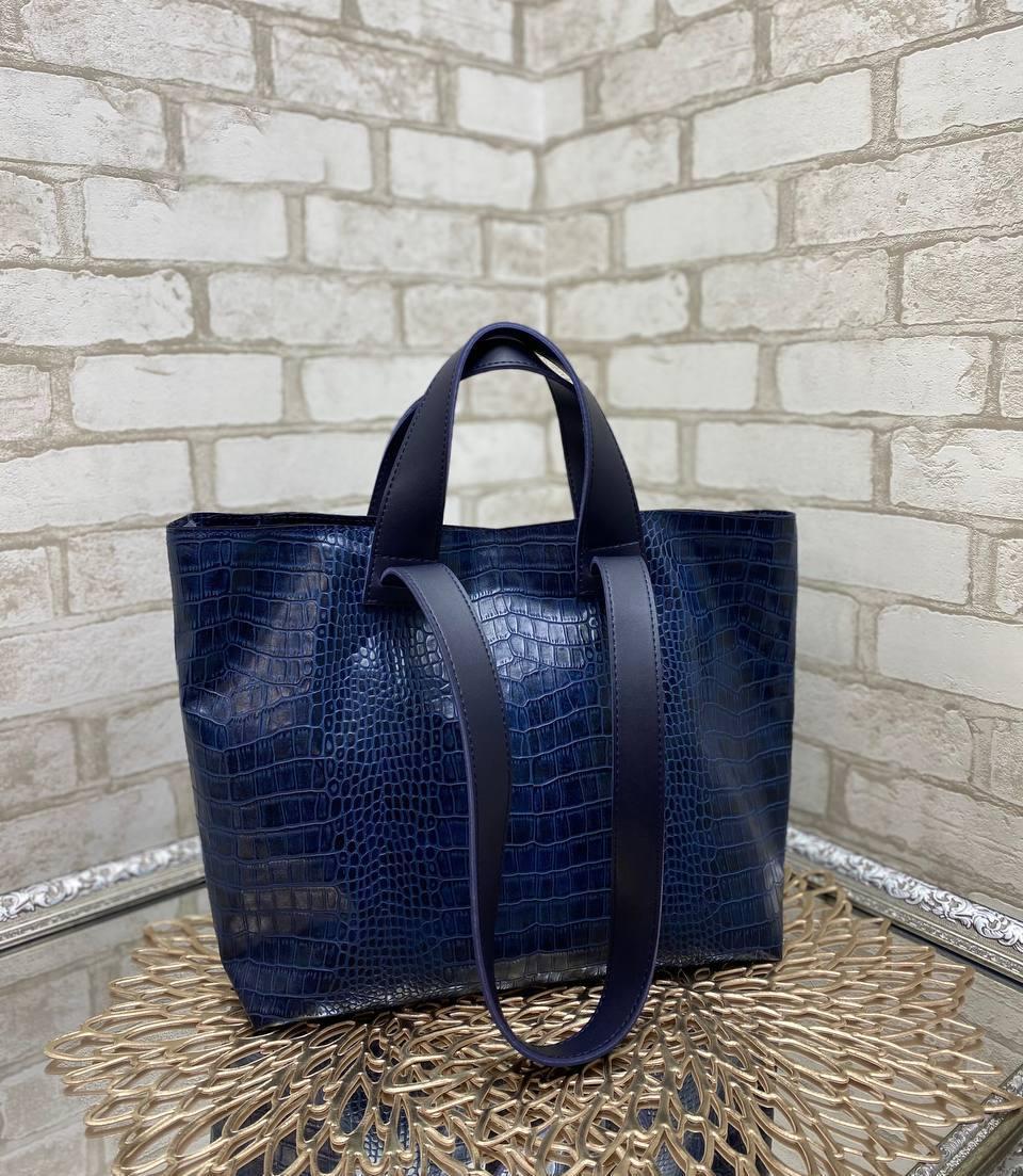 Женская сумка брендовая большая вместительная шоппер стильная синяя экокожа рептилия