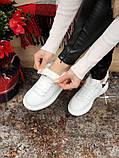 Женские кроссовки Alexander McQueen в стиле александр маккуин белые НА МЕХУ (Реплика ААА+), фото 5