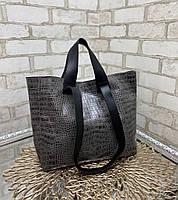 Женская сумка брендовая большая вместительная шоппер стильная серая экокожа рептилия, фото 1