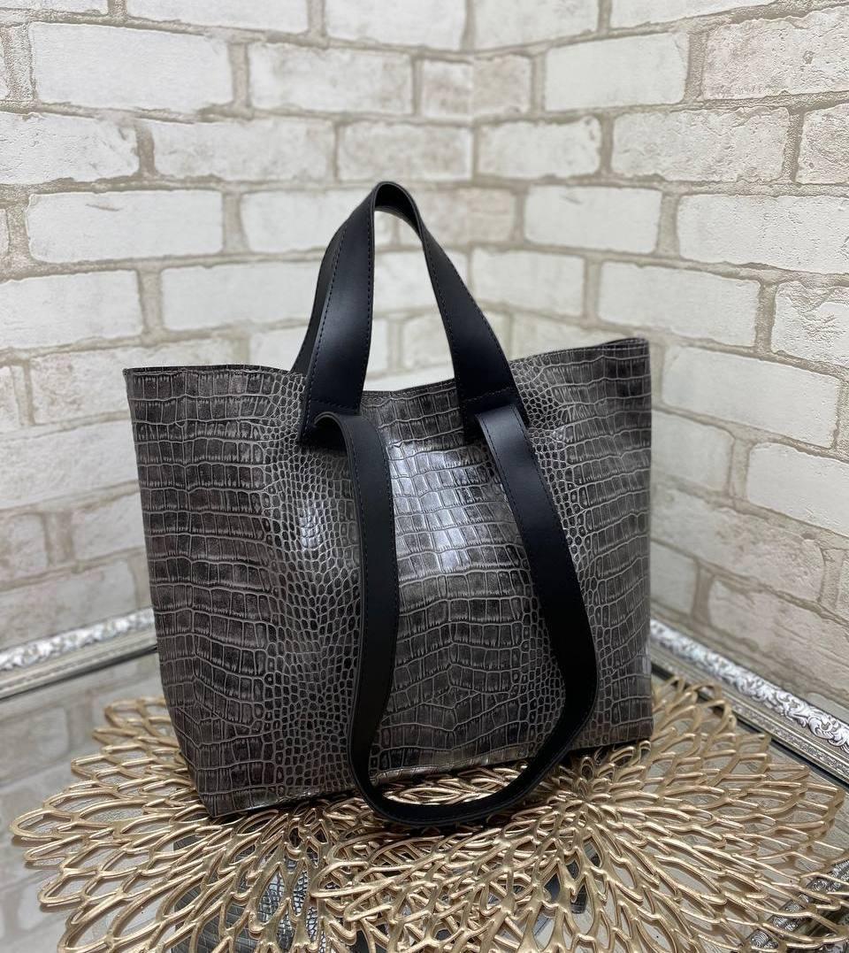 Женская сумка брендовая большая вместительная шоппер стильная серая экокожа рептилия