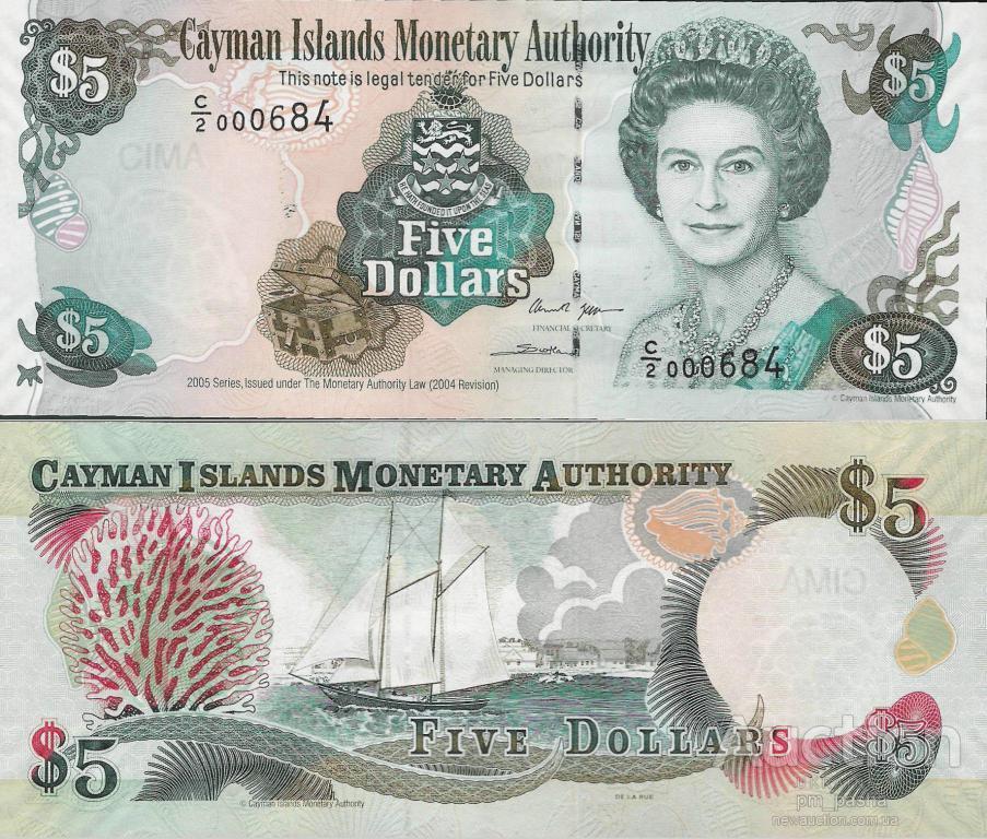 Кайманы - Cayman Islands 2005 - 5 dollars  UNC