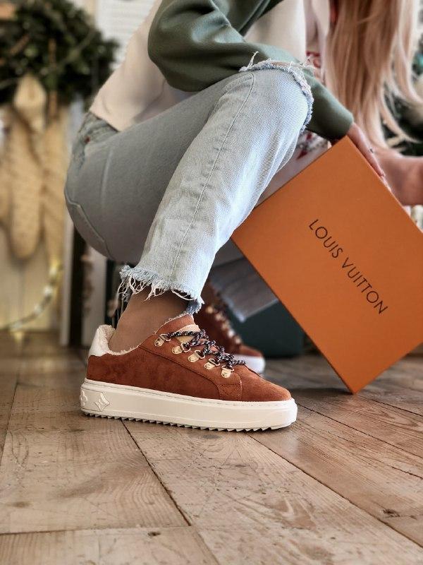 Кроссовки женские Louis Vuitton Escale в стиле луи витон НА МЕХУ (Реплика ААА+)