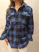 Рубашка женская в клетку 44-48 размер, фото 1