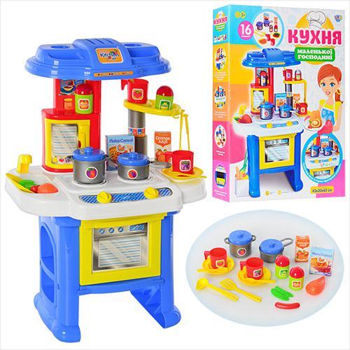 Детская игровая кухня, плита, мойка, посуда, продукты, звук, свет