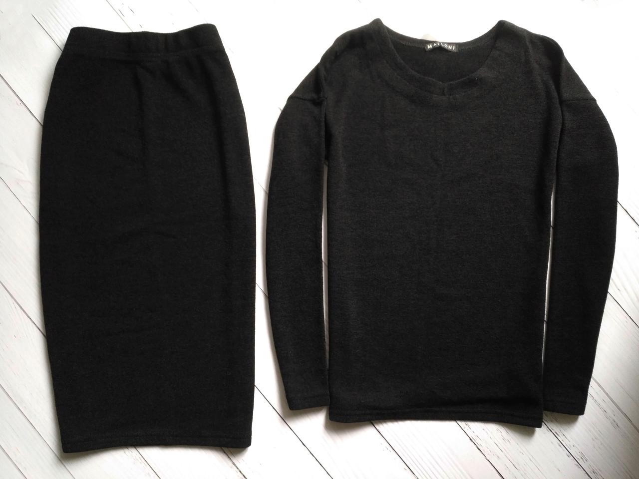 Чорний костюм, кофта і спідниця розмір S