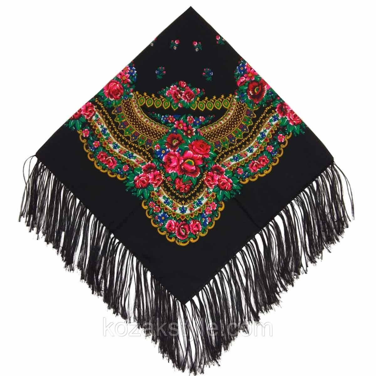 Українська хустка народна чорна (120х120)