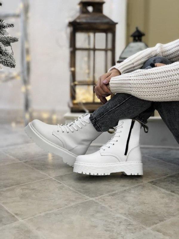 Женские ботинки Dr Martens Jadon в стиле Доктор Мартинс БЕЛЫЕ (Реплика ААА+)