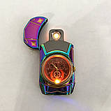Спиральная зажигалка, электрозажигалка аккумуляторная USB-813 + часы, фото 6