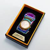Спиральная зажигалка, электрозажигалка аккумуляторная USB-813 + часы, фото 7