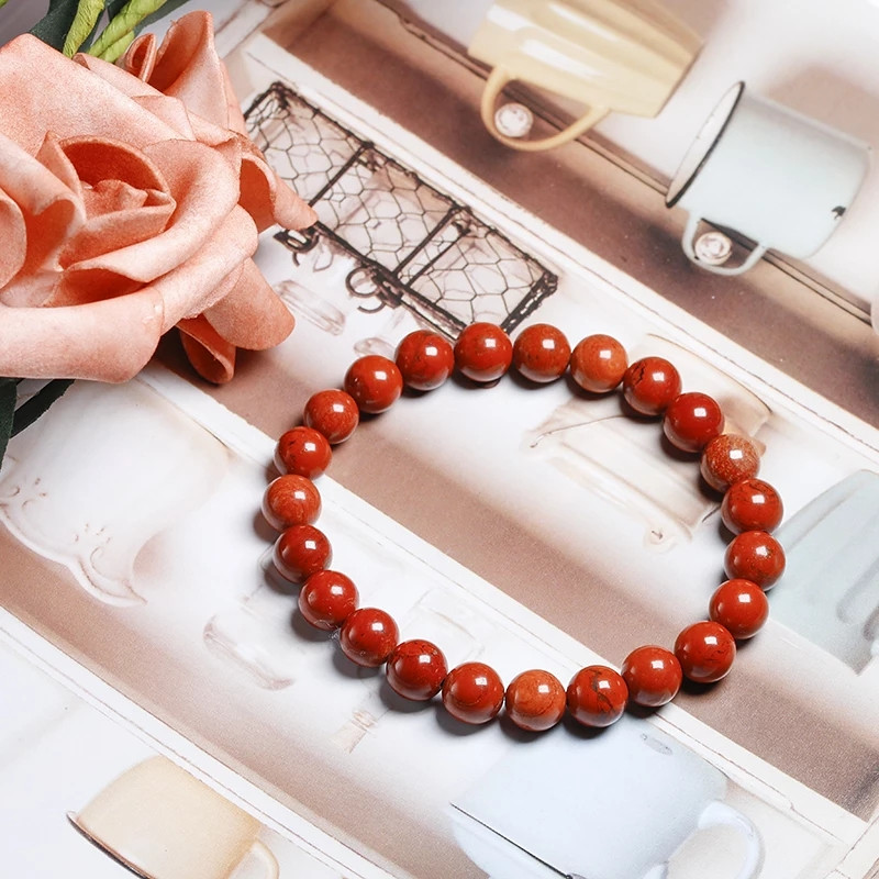Браслет Яшма красная натуральная высокое качество - камень очарования, счастье в судьбе