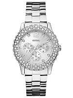 Женские  оригинальные часы Guess со стразами серебристые