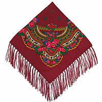 Українська хустка народна бордова (120х120)