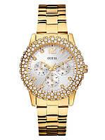 Женские оригинальные часы Guess золотистые со стразами