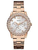 Женские оригинальные часы Guess розовые со стразами