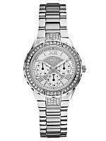 Женские  оригинальные часы Guess серебристого цвета