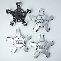 """Колпачки на титаны """"Audi"""" (135/57мм) черные/хром. (4F0 601 165N) краб/звезда комплект (4шт)"""