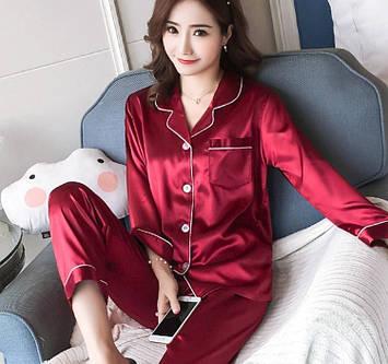 Пижама шелковая женская красная кофта и брюки код П232