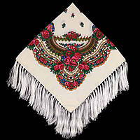 Українська хустка народна кремова (120х120)