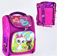Школьный ортопедический рюкзак для девочки розовый , ранец портфель детский с принтом кошечки
