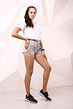 Шорты женcкие серые Off White с жёлто-чёрными лампасами, фото 2