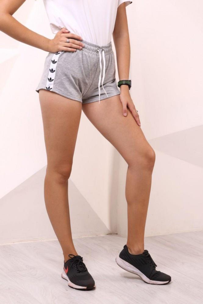 Шорты женcкие серые Adidas с бело-чёрными лампасами