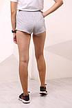 Шорты женcкие серые Adidas с бело-чёрными лампасами, фото 3