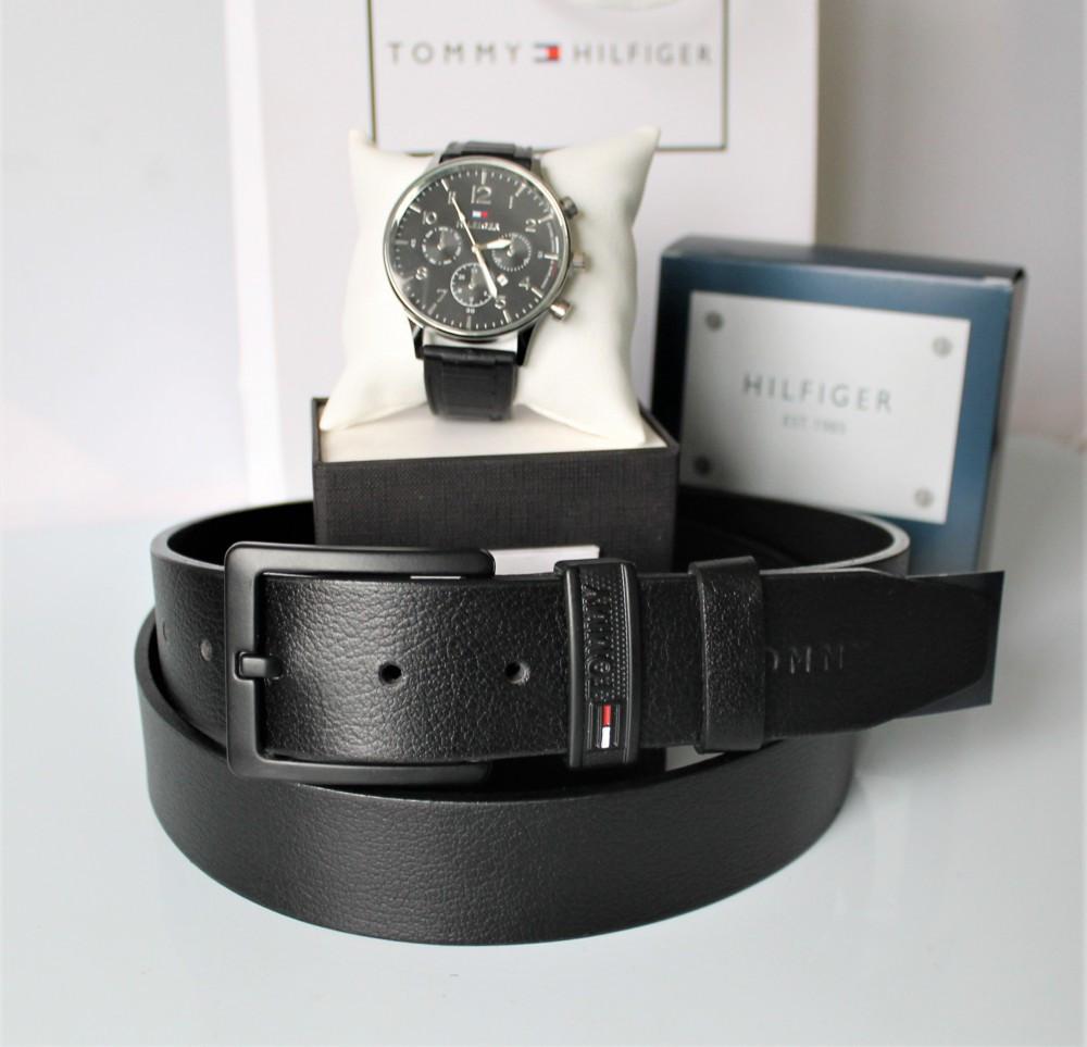 Мужской подарочный набор Tommy Hilfiger часы и ремень total black