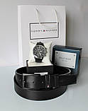 Мужской подарочный набор Tommy Hilfiger часы и ремень total black, фото 2