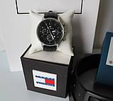 Мужской подарочный набор Tommy Hilfiger часы и ремень total black, фото 3