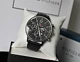 Мужской подарочный набор Tommy Hilfiger часы и ремень total black, фото 4
