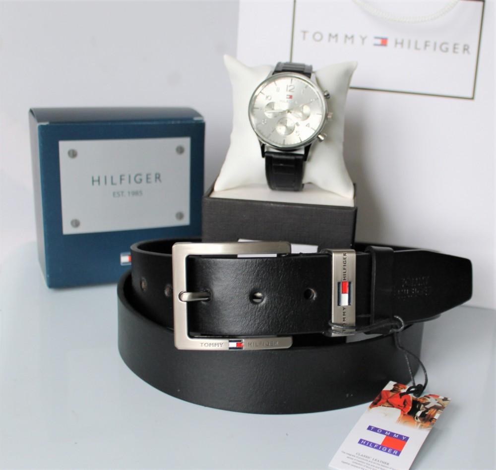 Мужской подарочный набор Tommy Hilfiger кожаный ремень и часы black
