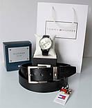 Мужской подарочный набор Tommy Hilfiger кожаный ремень и часы black, фото 2