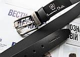Кожаный мужской ремень Massimo Dutti черный, фото 3