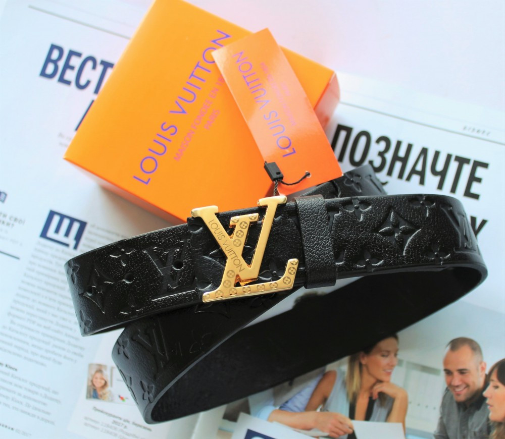 Ремень с тиснением Louis Vuitton унисекс черный