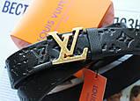Ремень с тиснением Louis Vuitton унисекс черный, фото 2