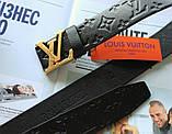 Ремень с тиснением Louis Vuitton унисекс черный, фото 3